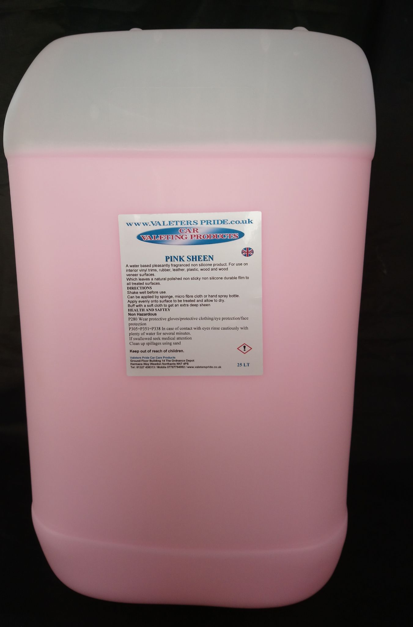 25L Valeters Pride Pink Sheen Non Silicone Water Based Vinyl/ Trim Dressing  Valeting Product